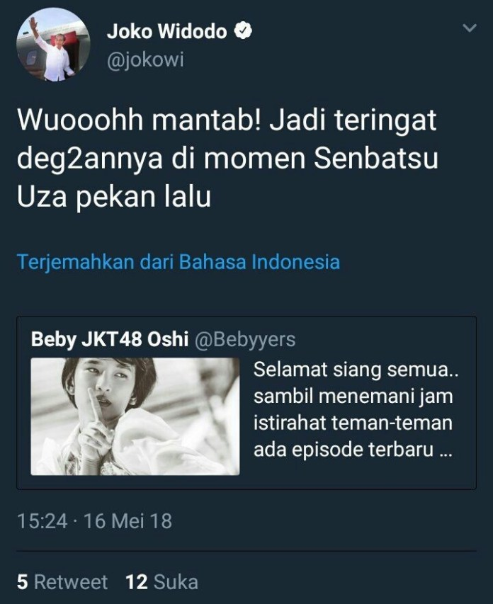 The tweet has been deleted from Jokowi's account.