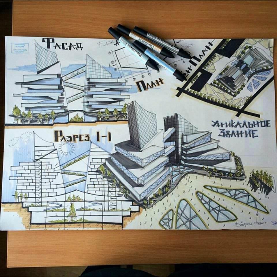 110建築設計師手稿作品