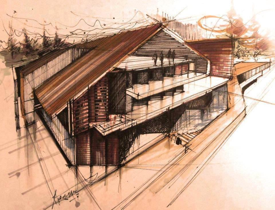 182建築設計師手稿作品