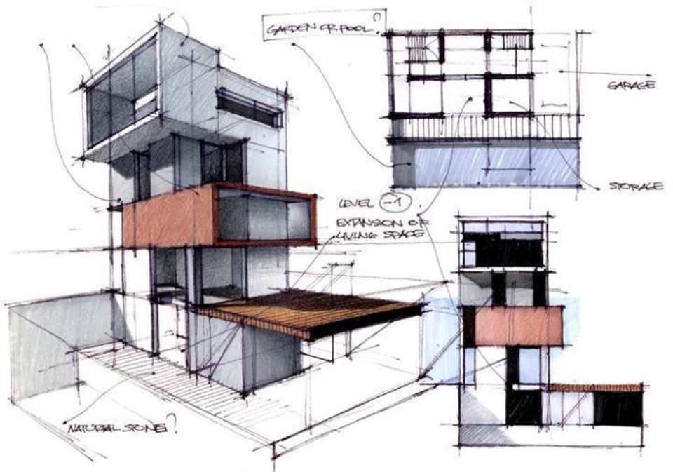 186建築設計師手稿作品