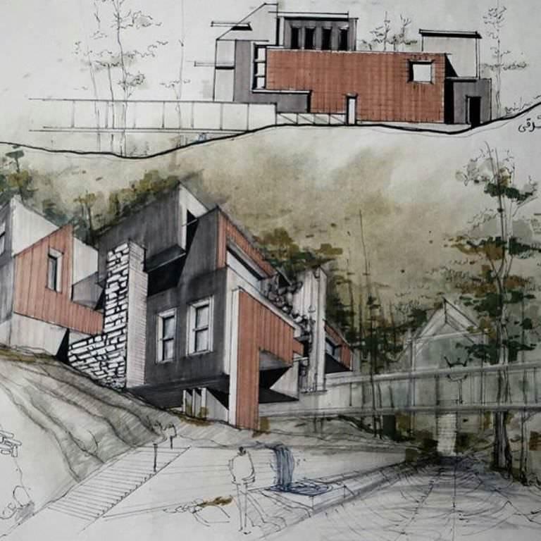 350建築設計師手稿作品