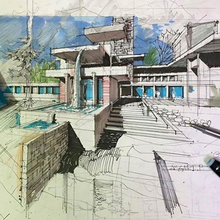 364建築設計師手稿作品