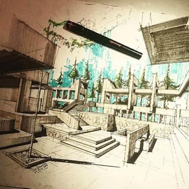 374建築設計師手稿作品