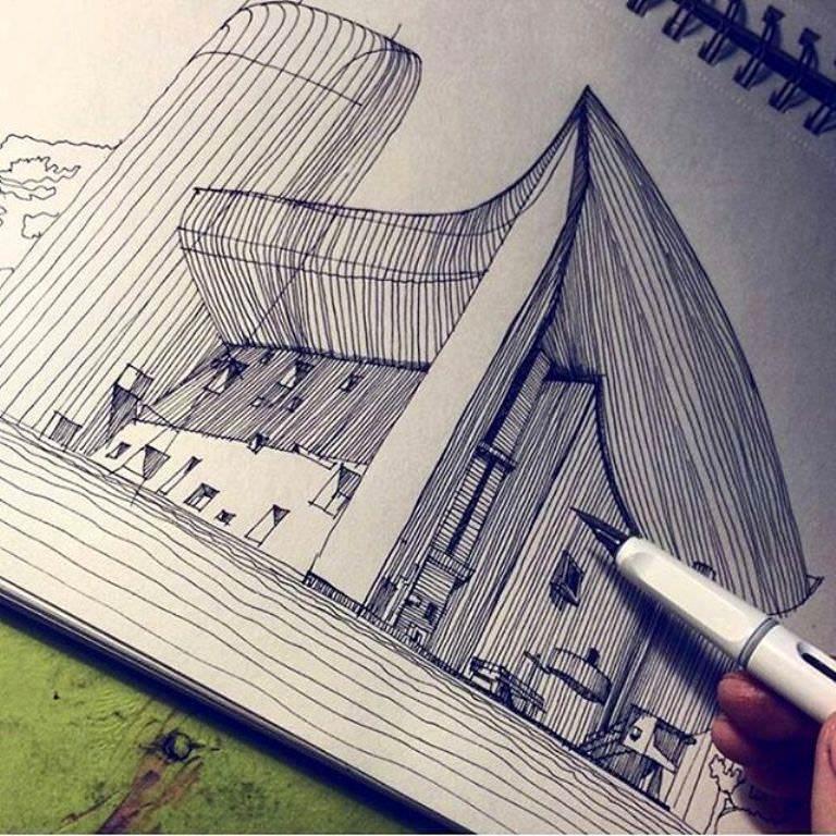398建築設計師手稿作品