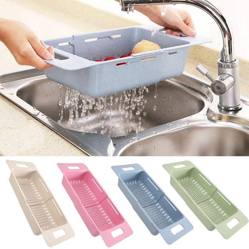 adjustable dish drainer sink drain basket washing vegetable fruit plastic drying rack kitchen access