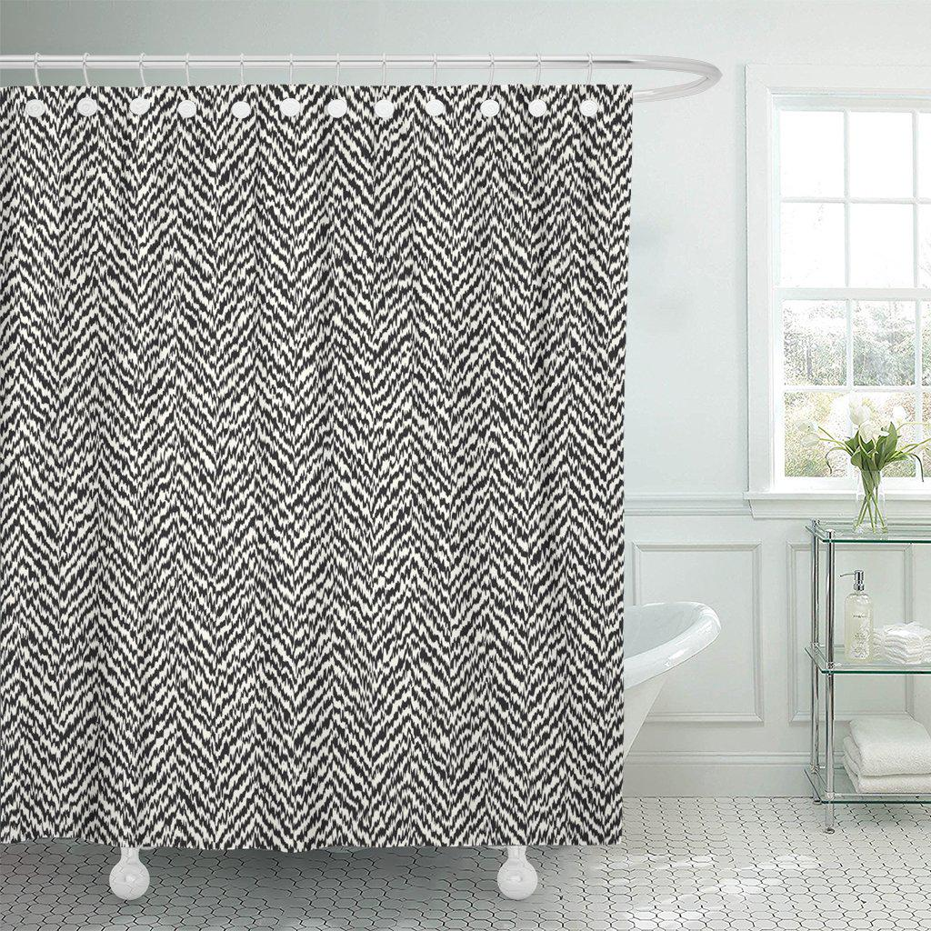 pattern herringbone tweed black chic white abstract polyester shower curtain 60x72inch 150x180cm