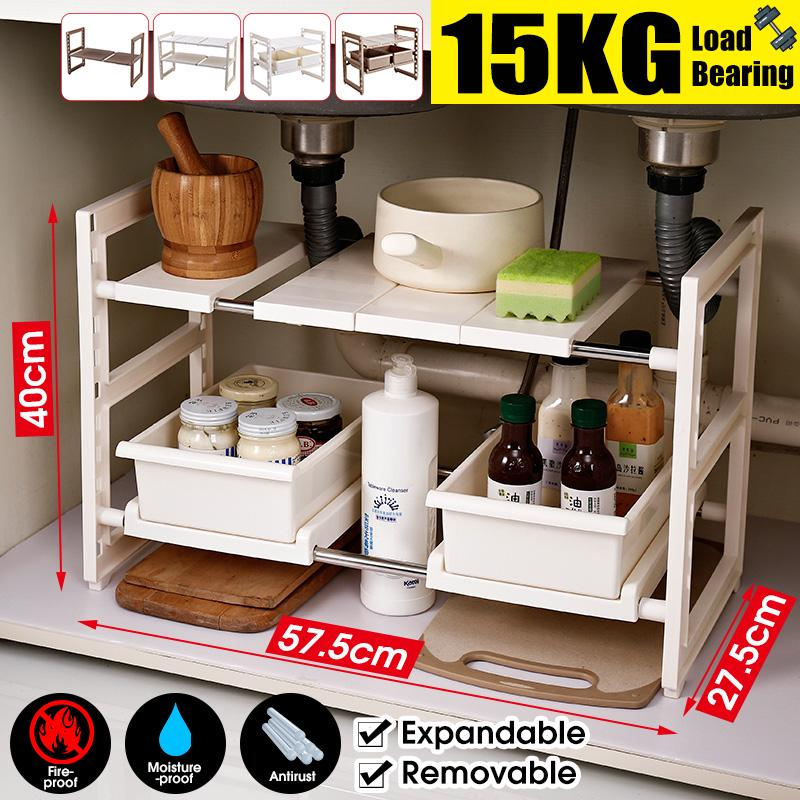 expandable under sink organizer 1 tier 2 tier multifunctional storage rack shelf with removable shelves and steel pipes for kitchen bathroom garden