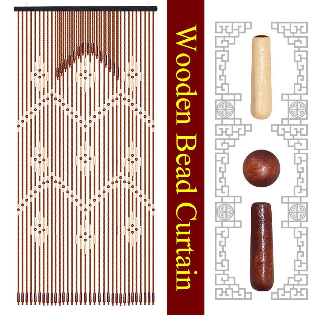 32 lines wooden door curtain blinds handmade fly screen wooden beads room divider 90 175cm