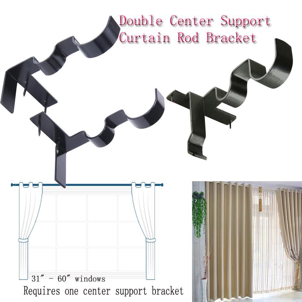 magic hang double center support curtain rod bracket into window frame rod bracket