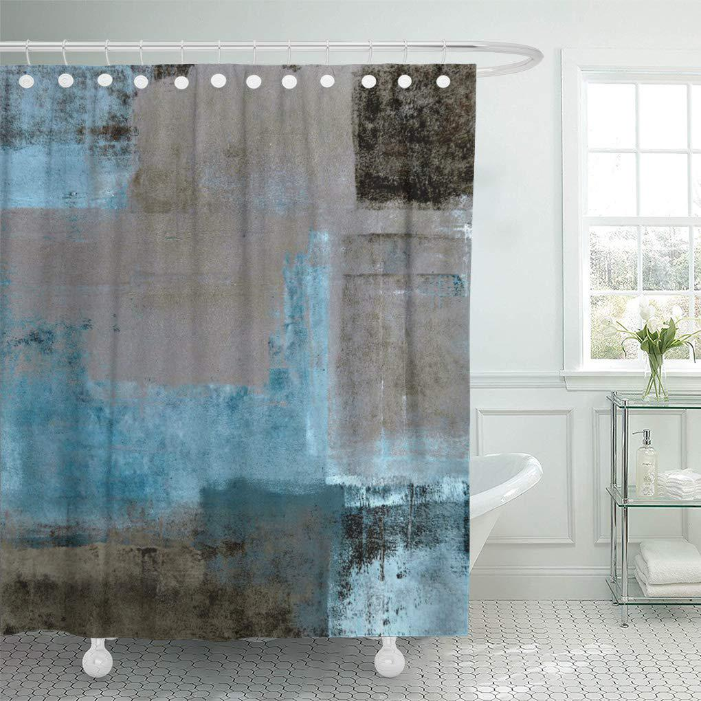 beige turquoise teal and brown abstract modern shower curtain 60x72inch 150x180cm