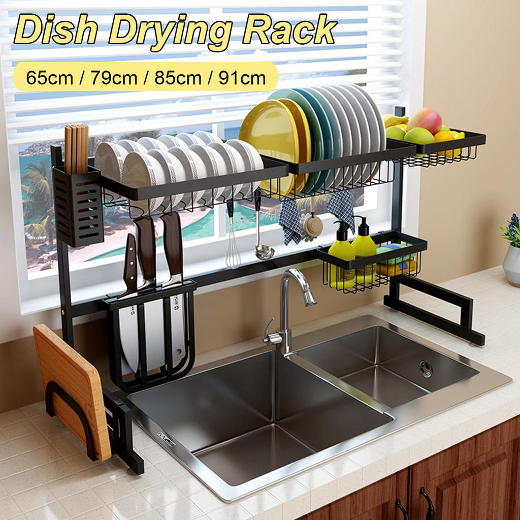 65 79 85 91cm stainless steel dish rack over the sink dish drying rack holder