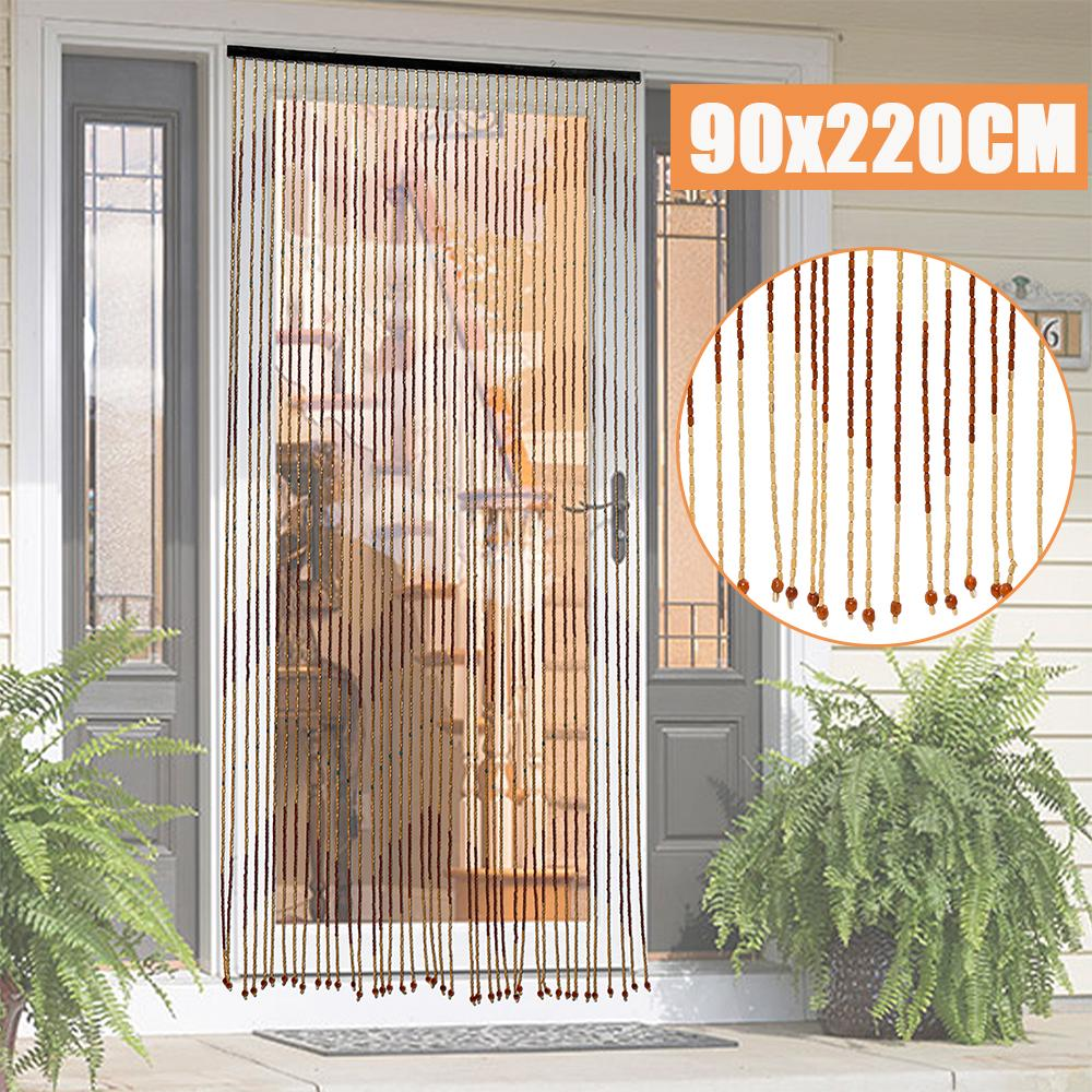 90x220cm 31 line retro bamboo wooden bead string door curtain blinds porch bedroom bathroom decor