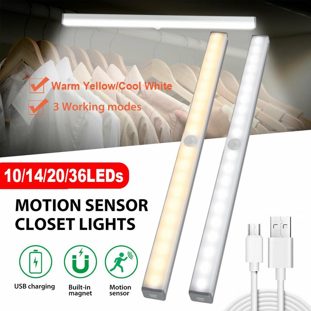 10 14 20 36 led under cabinet light infrared motion sensor night lamp usb rechargeable light cupboard closet lamp
