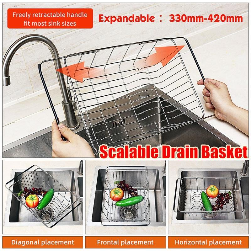 extendable stainless steel adjustable strainer sink drain basket rack holder kitchen tool