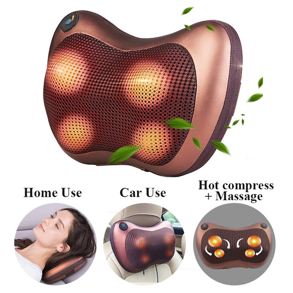 car home electric massage pillow therapy massager vibrating kneading shoulder neck infrared heating relaxation body massager buy at a low prices on