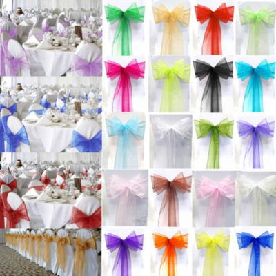 diy organza chair covers black outdoor rocking chairs canada cover sash bows 6 x108 20 colors extra wide wedding 1x chic party sheer sashes bow wider decoration 20x275cm