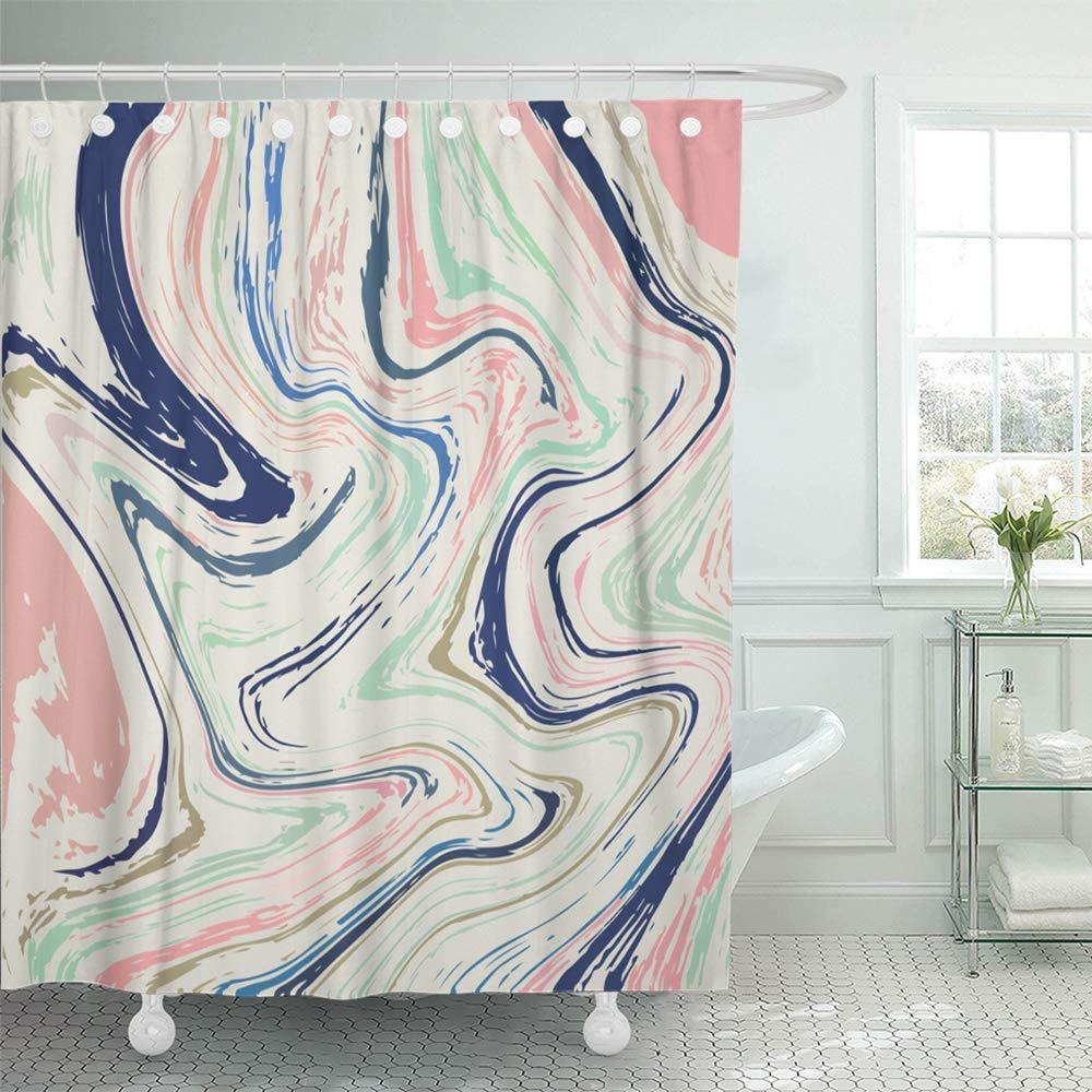 pastel holographic multicolor marbling opal agate marble nacre fluid digital wavy shower curtains 66x72inch 165x180cm
