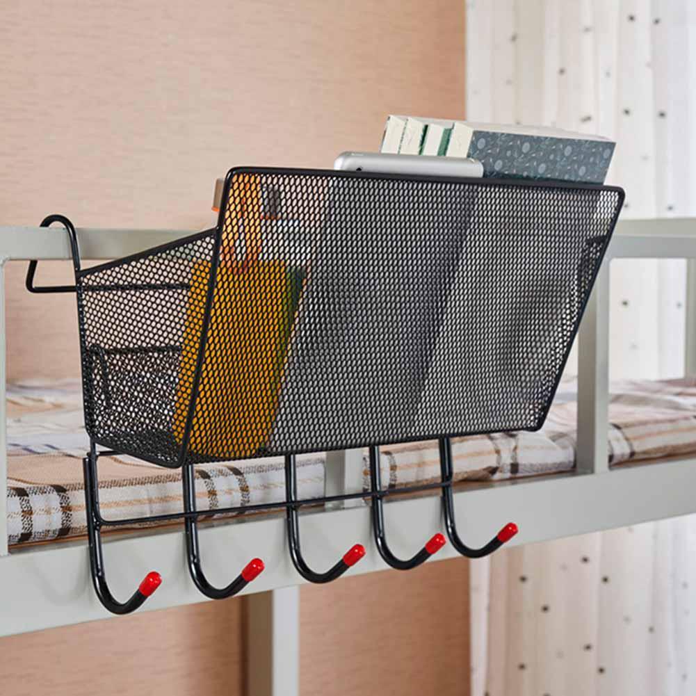 metal hanging storage rack basket hooks book phone holder dorm bed organizer