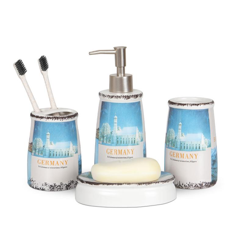 four piece ceramic bathroom accessory set printing washing tools bottle mouthwash cup soap toothbrush holder household articles