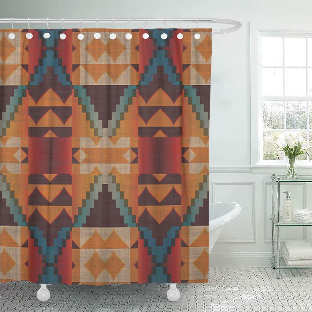 modern orange brown red teal blue tribal mosaic shower curtain 66x72inch 165x180cm