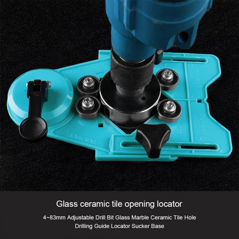 4 83mm adjustable drill bit glass marble ceramic tile hole drilling guide locator sucker base