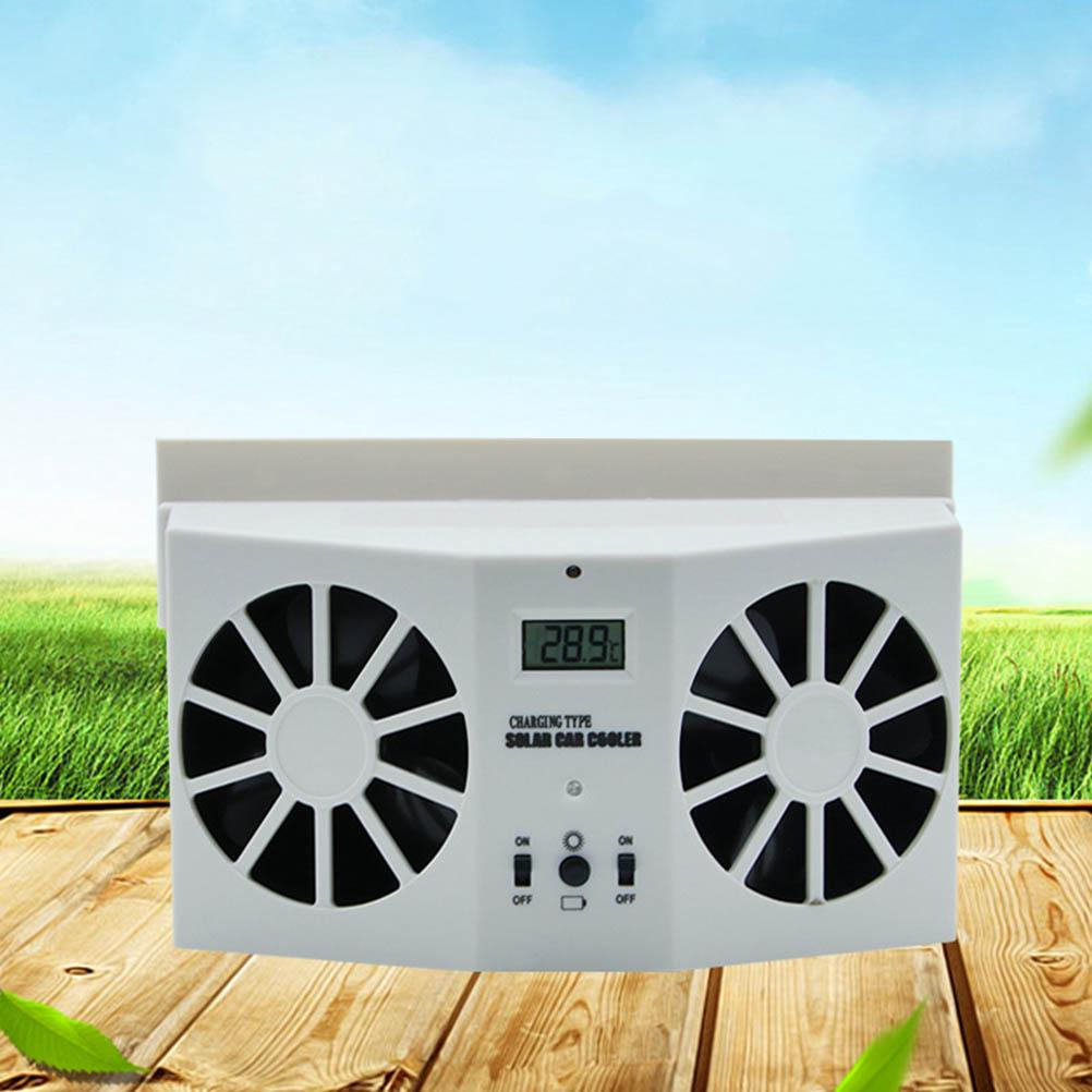 solar car dual exhaust fan auto ventilation system car cooling fan window windshield fan