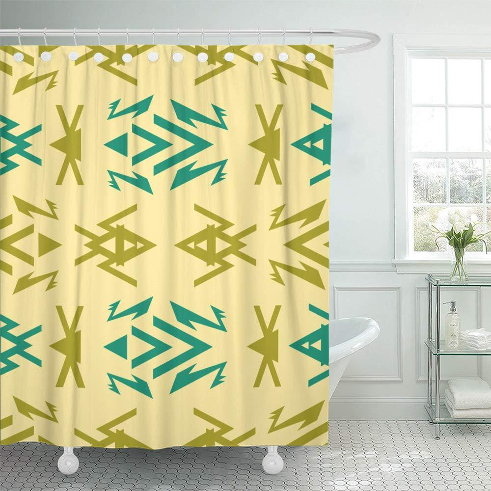 blue abstract geometric of multiple complex shapes olive green teal light yellow shower curtains 66x72inch 165x180cm