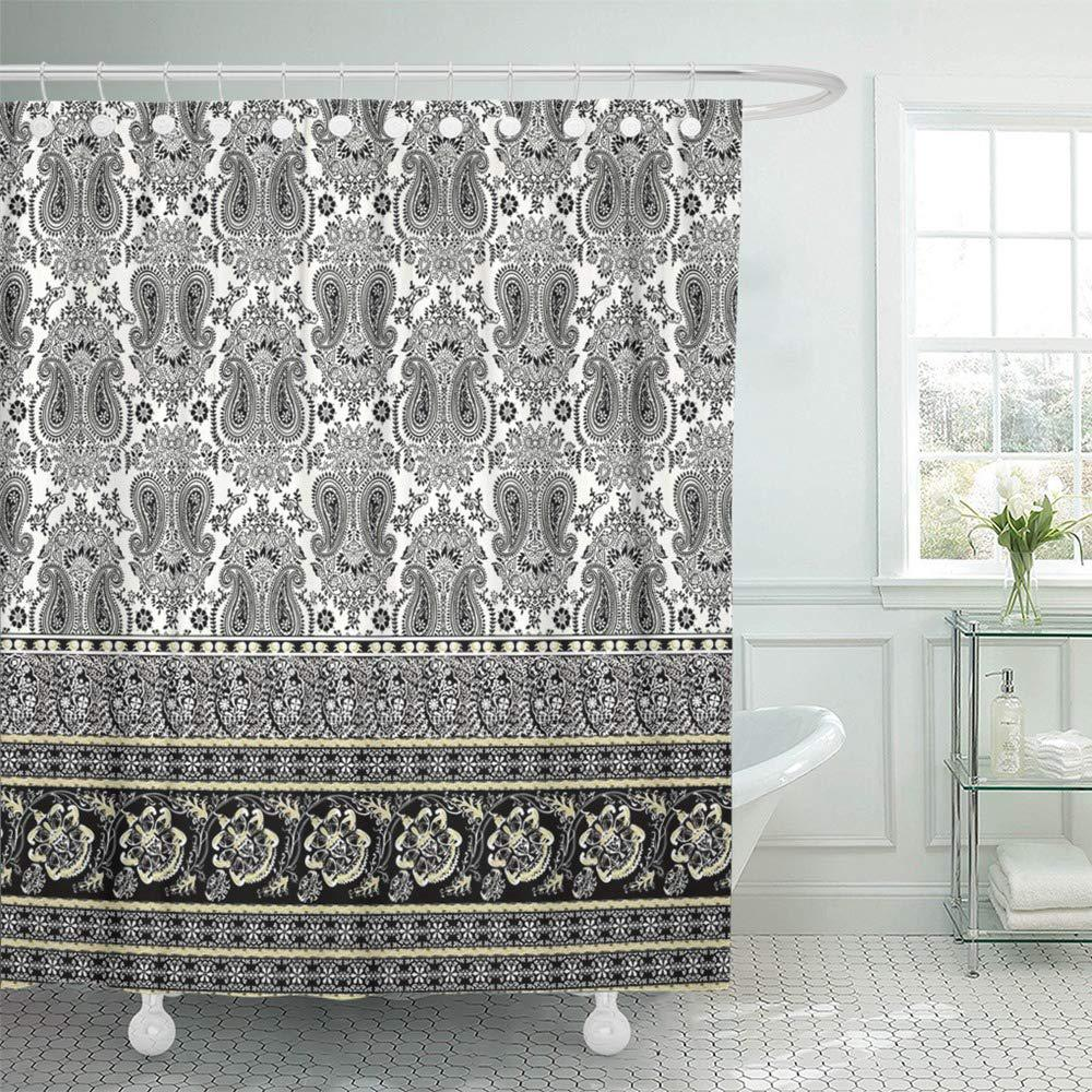border fantasy flowers paisley pattern floral batik persian jacobean oriental bath shower curtain 66x72inch 165x180cm
