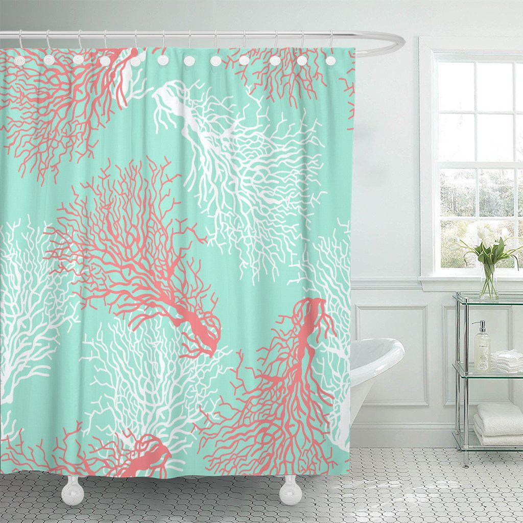 red pattern colorful coral reef blue abstract aqua baby polyester shower curtain 60x72inch 150x180cm