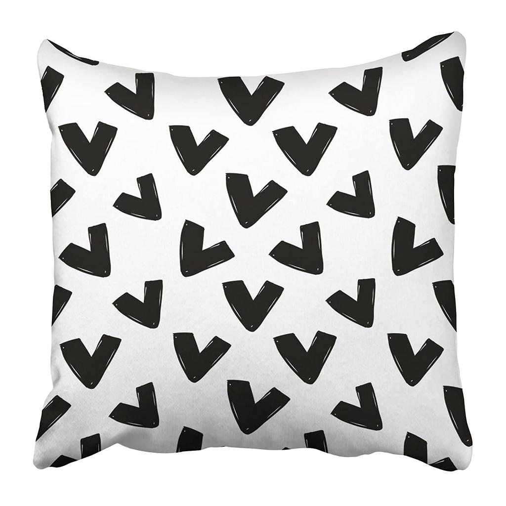 modern kids b w with v graphic black and white cute minimalistic scandinavian pillow case 18x18inch 45x45cm