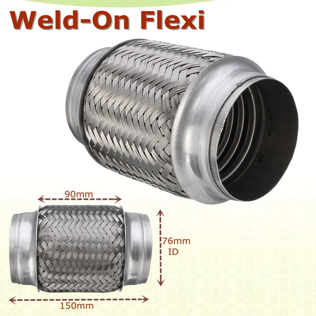 weld on 3 x 6 stainless exhaust flex tube joint flexi repair flexi pipe 76mm x 150mm