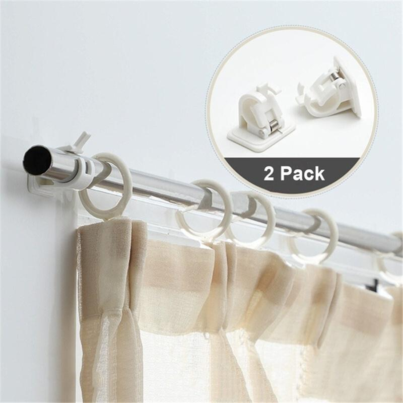 2pcs self adhesive hooks wall mounted curtain rod bracket shower curtain rod fixed clip hanging rack
