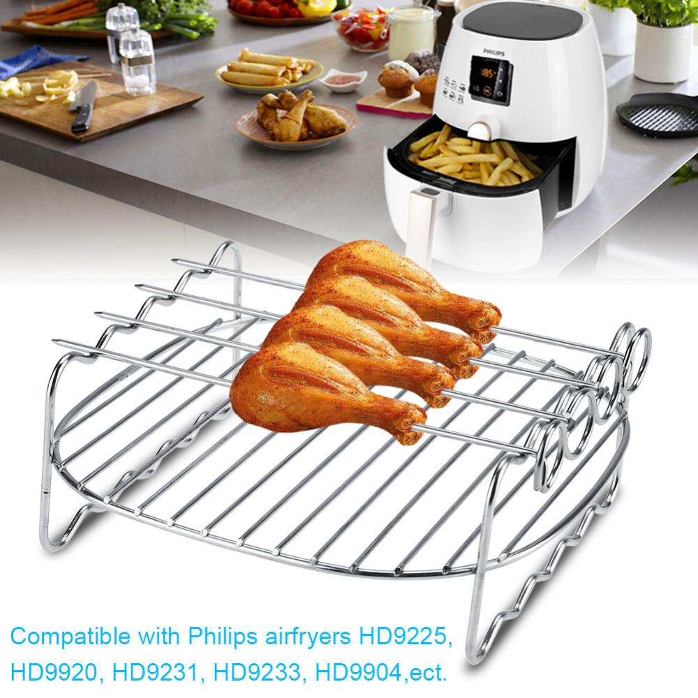 8 inch double layer metal skewers bbq rack replacement stands baking tray buy at a low prices on joom e commerce platform