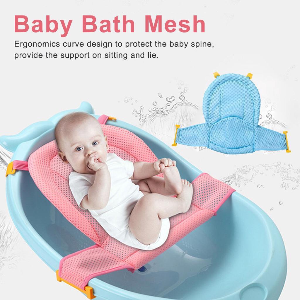 newborn infant adjustable bath tub pillow seat mat cross shaped non slip baby bath net mat kids bathtub shower cradle bed seat