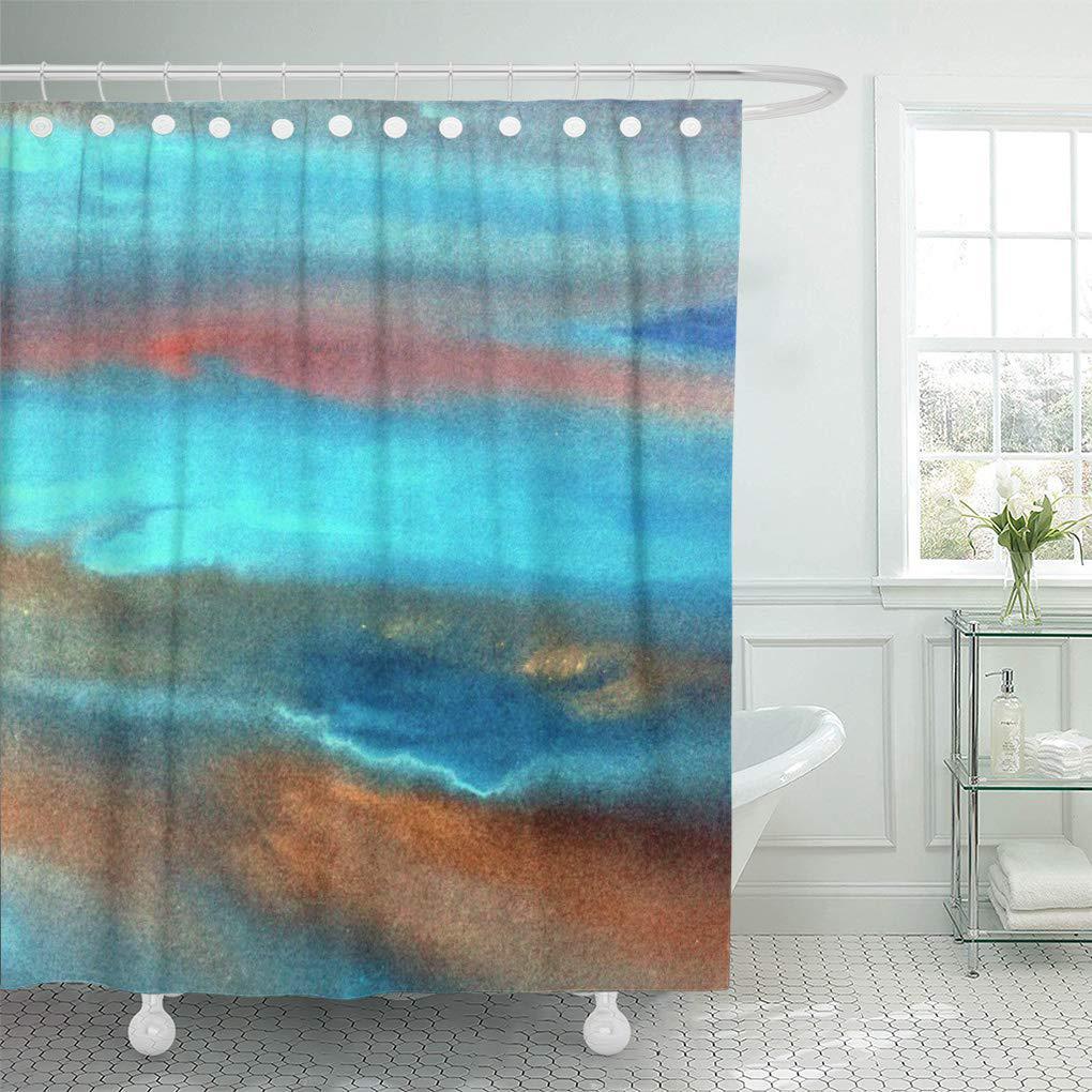 brown acrylics aqua blue abstract orange watercolors gold shower curtain 66x72inch 165x180cm