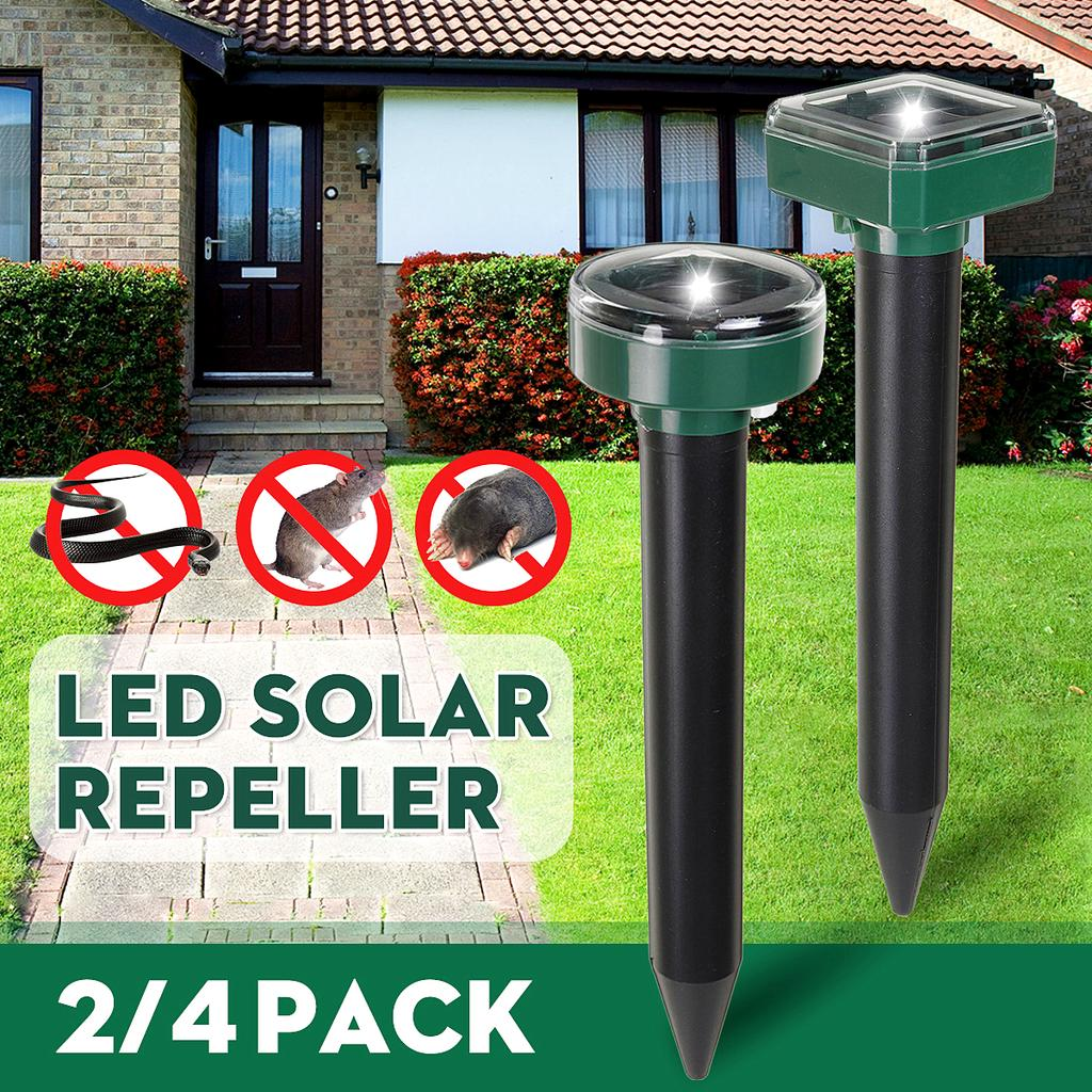 2 4 pcs green 2v 100ma repellent solar powered ultrasonic pest bird cat dog mouse rat repeller gopher vole mole scarer for lawn garden outdoor buy at