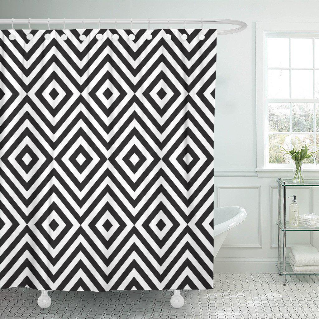 tribal zig zag and rhombus for beauty black shower curtain 60x72inch 150x180cm