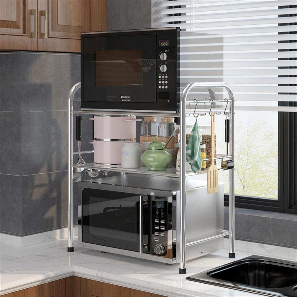 60cm 3 layer stainless steel kitchen microwave oven rack shelf cutlery holder buy at a low prices on joom e commerce platform