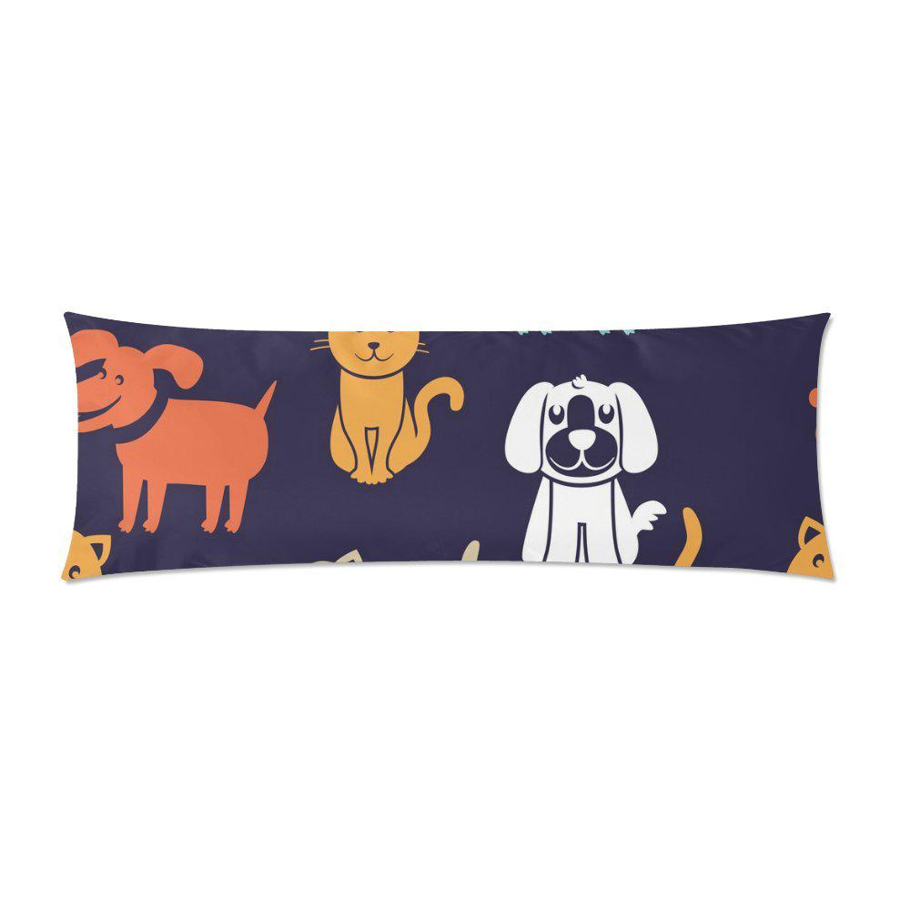 funny cats dogs long body pillowcase pillow cover pillowslip 20x60inch 50x150cm
