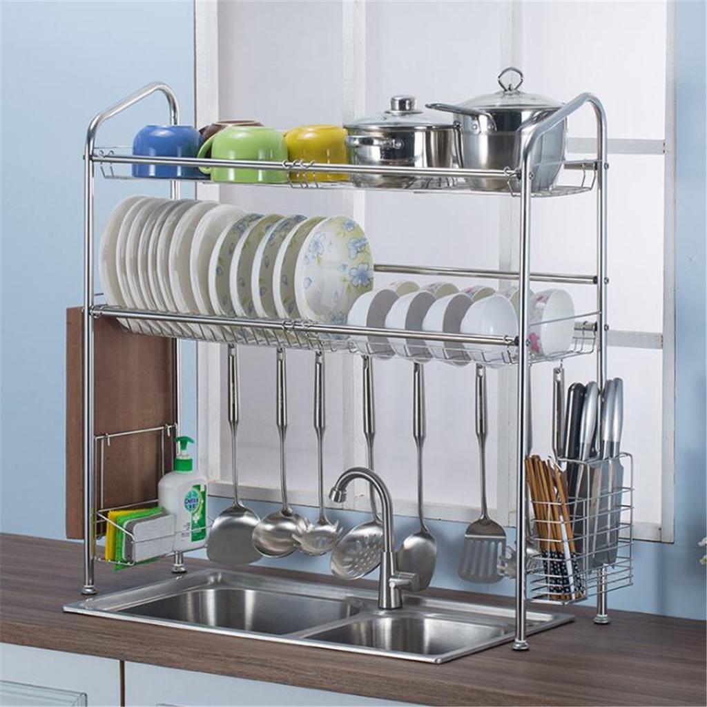 2 tier stainless steel dish drain rack over sink bowl shelf kitchen organizer rack storage cutlery holder