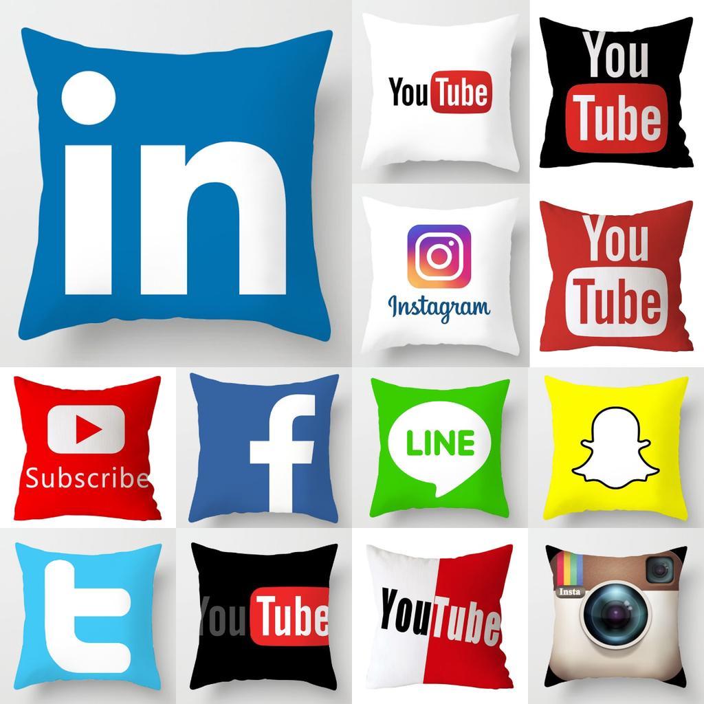 app brand facebook youtube cushion cover home decor snapchat instagram throw pillows wedding christmas decoration pillowcase