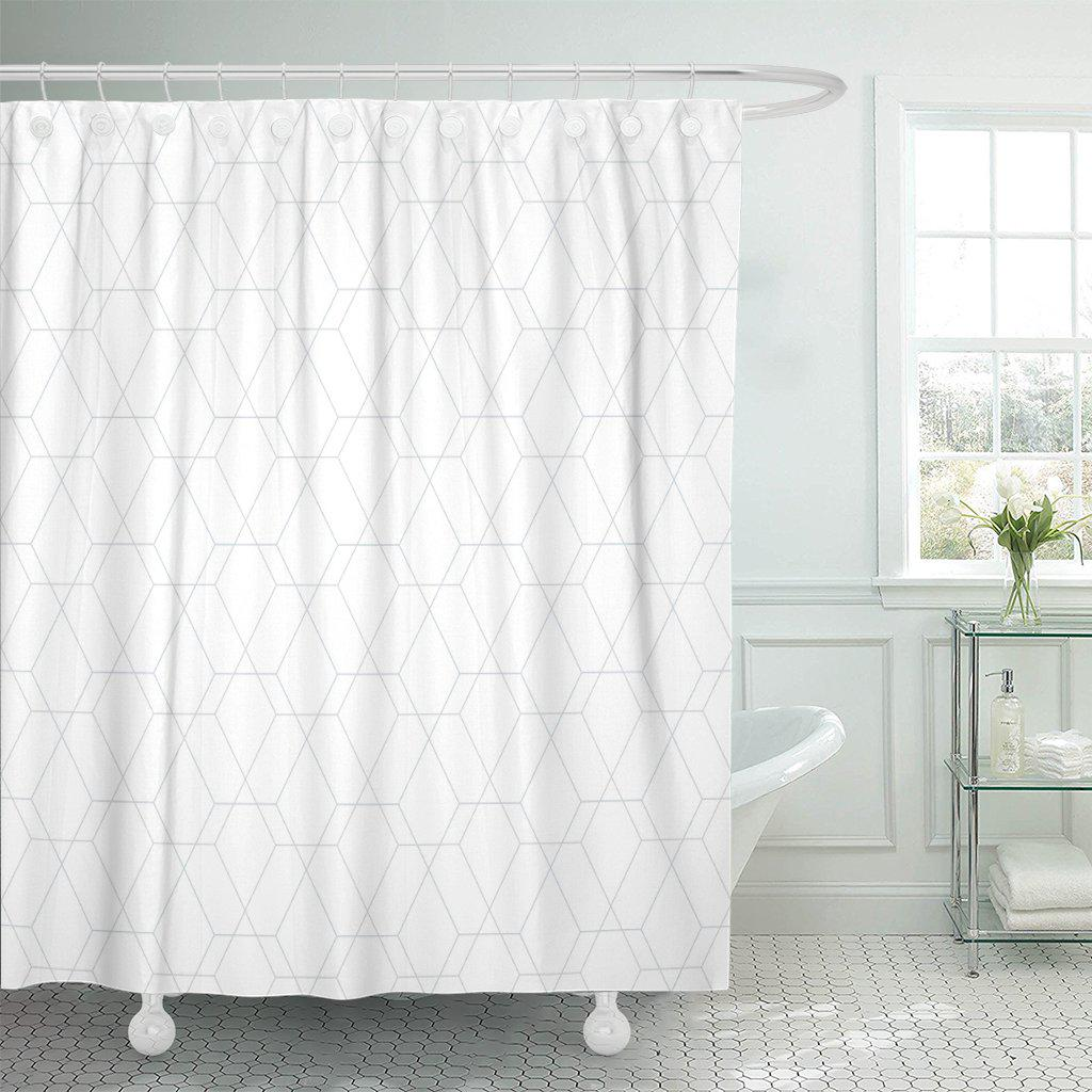 gray white abstract geometric pattern by lines diamonds light polyester shower curtain 60x72inch 150x180cm