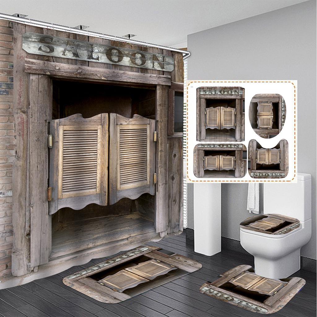 4pcs retro wooden door bathroom set shower curtain non slip toilet cover bath mat set rugs carpets buy at a low prices on joom e commerce platform