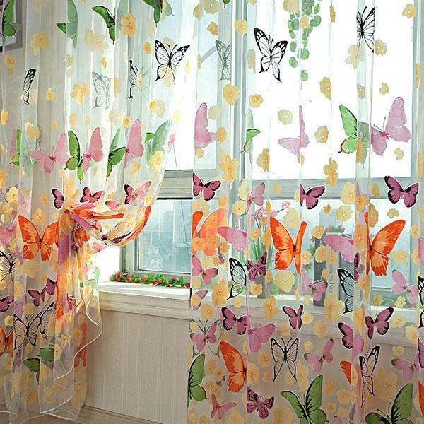 butterfly sheer curtain window door panel curtain room divider voile drape scarf size 100cm