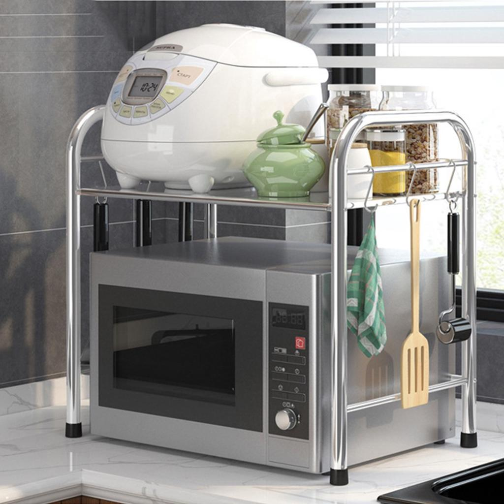 60cm stainless steel kitchen microwave oven rack organizer storage stand