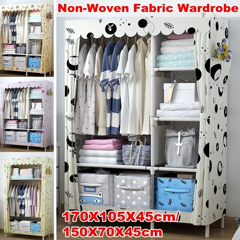 170x105x45cm 150x70x45cm small large size portable closet wardrobe clothes rack dustproof cover storage organizer holder