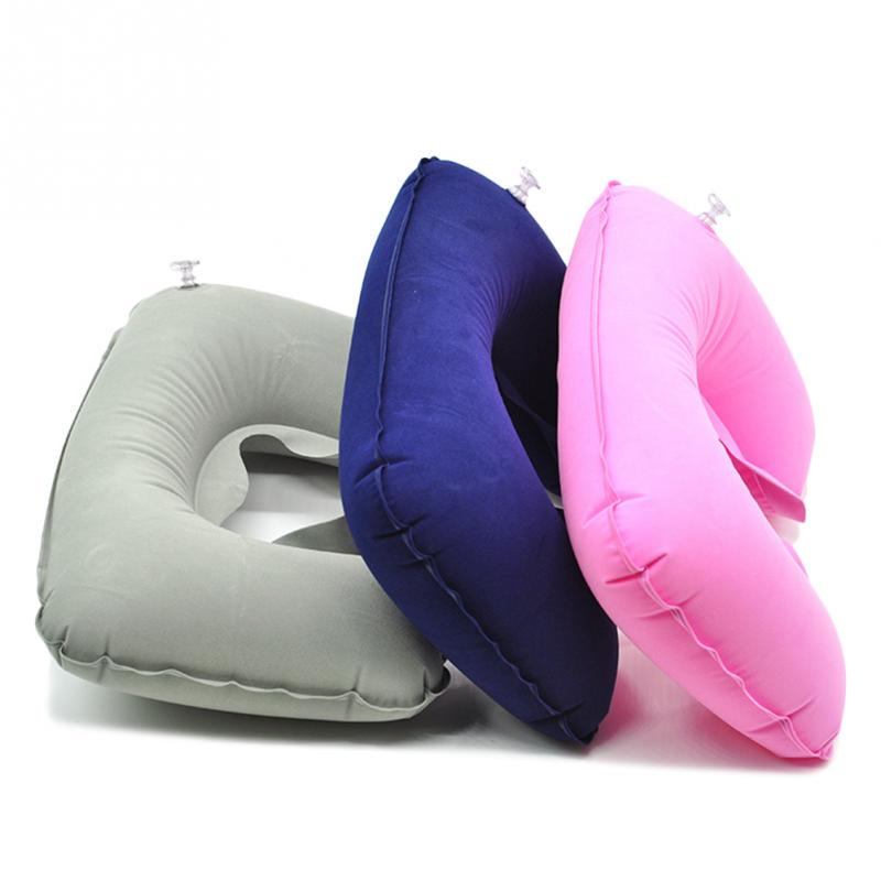 functional inflatable neck pillow inflatable u shaped travel pillow car head neck rest air cushion