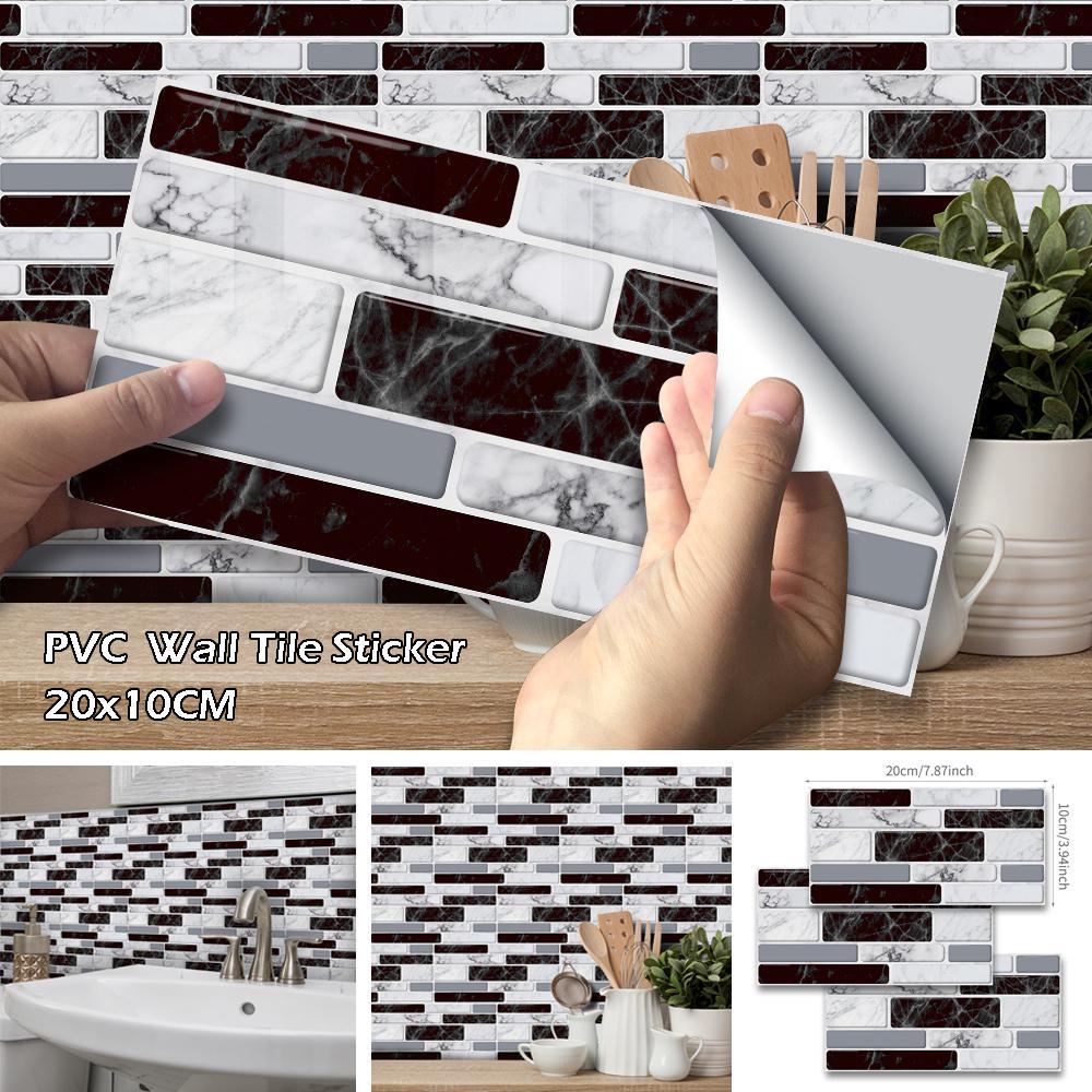 9 27pcs imitation marbled pvc wall stickers kitchen bathroom mosaic self adhesive tile stickers