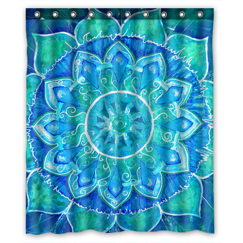 mandala trippy psychedelic abstract painting shower curtain 60x72inch 150x180cm
