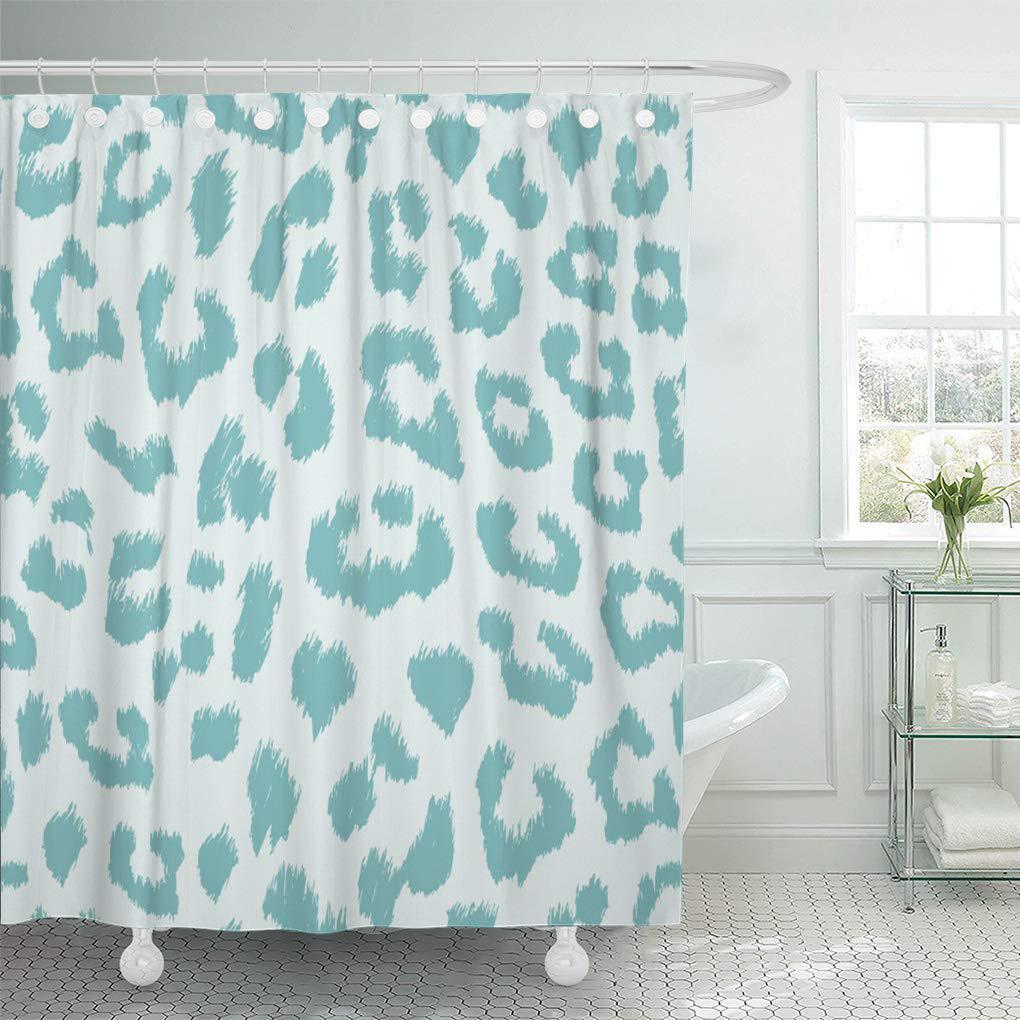 teal cat aqua and gray leopard blue pattern duck shower curtain 66x72inch 165x180cm